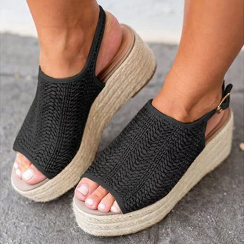 Hemp Sandals Shoes Wedge-Heels Comfortable Female Plus-Size Fashion Summer LASPERAL Women