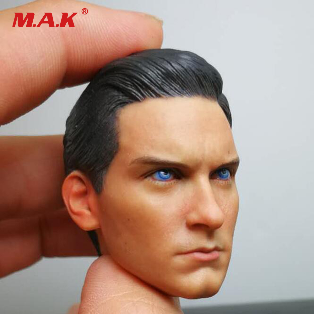 1/6 Scale Male Head Sculpt Black Spider-Man Peter Benjamin Parker Heroes Blue Eyes Head Carving for 12 Inches Action Figure Body 1 6 scale leon scott kennedy male head sculpt models in resident evil for 12 inches men bodies