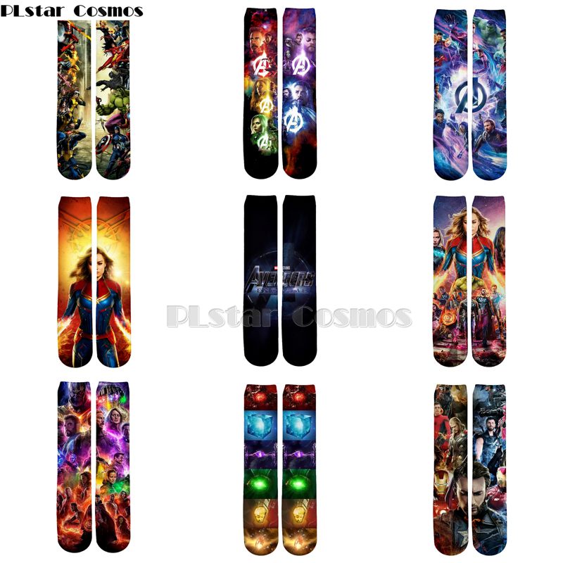 Plstar Cosmos 2019 New Moives Avengers 4 Endgame New Style 3d Men Women Funny Socks 3D High Marvel Socks Men Women High Quality