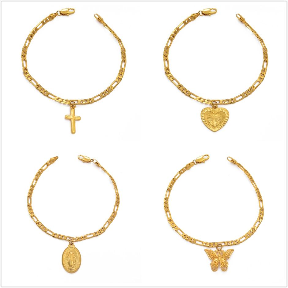 Anniyo Virgin Mary Butterfly Heart Pineapple Religious Bracelet for Women Men Gold Color Charm Bangle Bracelets Jewelry #210006