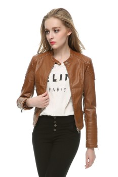 Slim Motorbike Retro Faux Leather Jacket