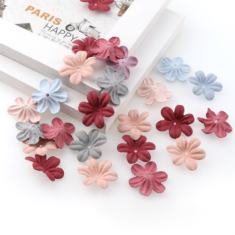 Decoration Petal Headdress Cloth Flowers Artificial Flower Embossed Microfiber Fabric Handmade Hair Accessories Rubber Band