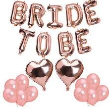 1 conjunto 16 polegada rosa ouro noiva a ser letra balões coração folha balão hen decorações de festa casamento festa de despedida suprimentos