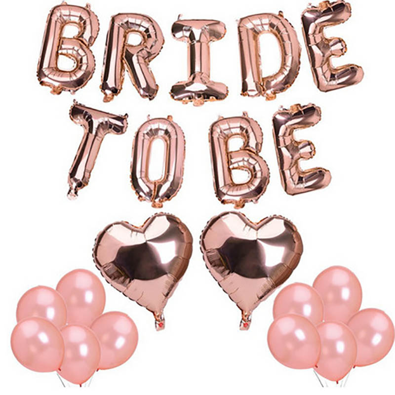 1set 16inch Rose Gold Bride To Be Letter Balloons Heart Foil Balloon Hen Party Decorations Wedding Bachelorette Party Supplies