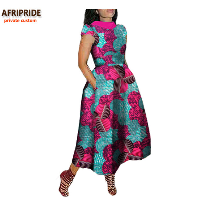2018 maxi dress for african women AFRIPRIDE private custom V-Back short sleeve turn-down collar ankle-length casual dressA722592