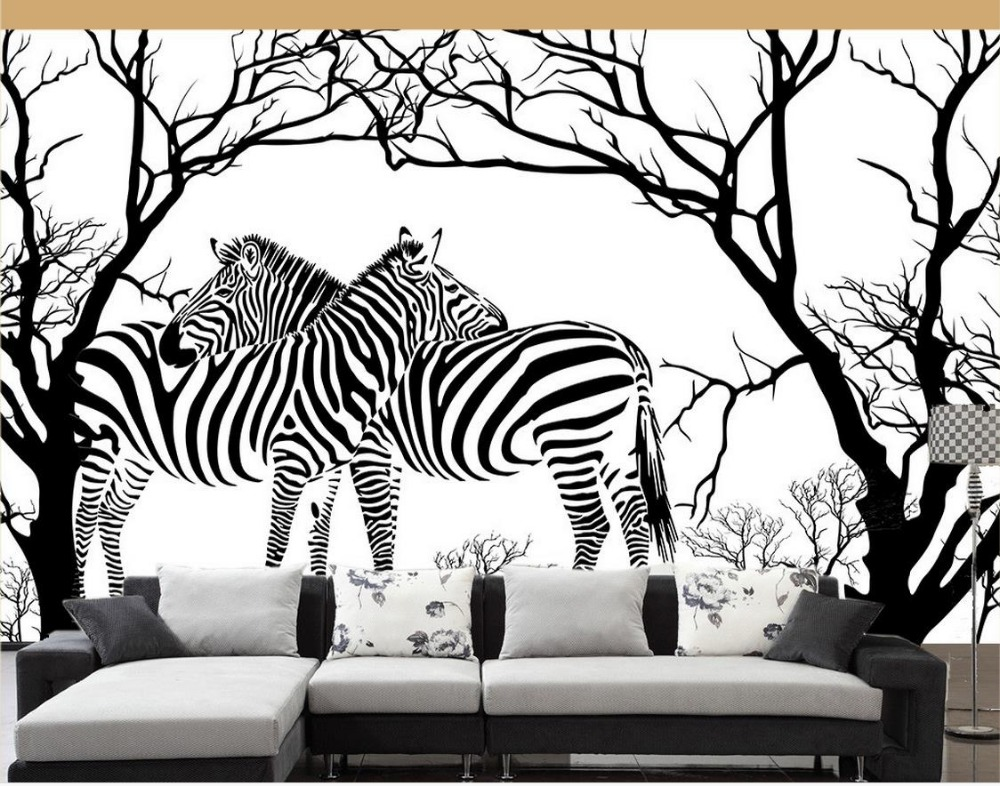 papel de parede Modern art black and white abstract tree relief Wallpapers for living room 3d - Behang Zebra