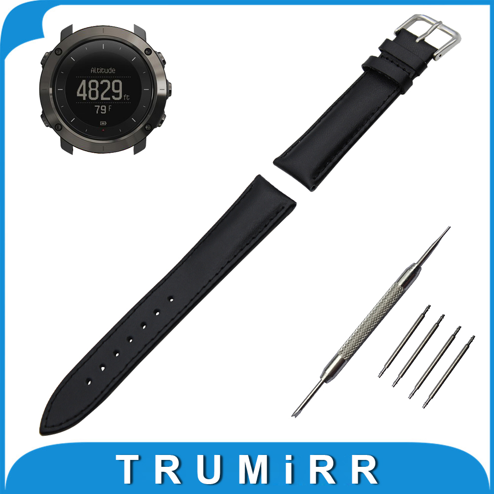 Genuine Leather Watch Band 24mm for Suunto TRAVERSE Stainless Buckle Strap Wrist Belt Bracelet Black Brown + Spring Bar + Tool ada phantom 2d set а00218