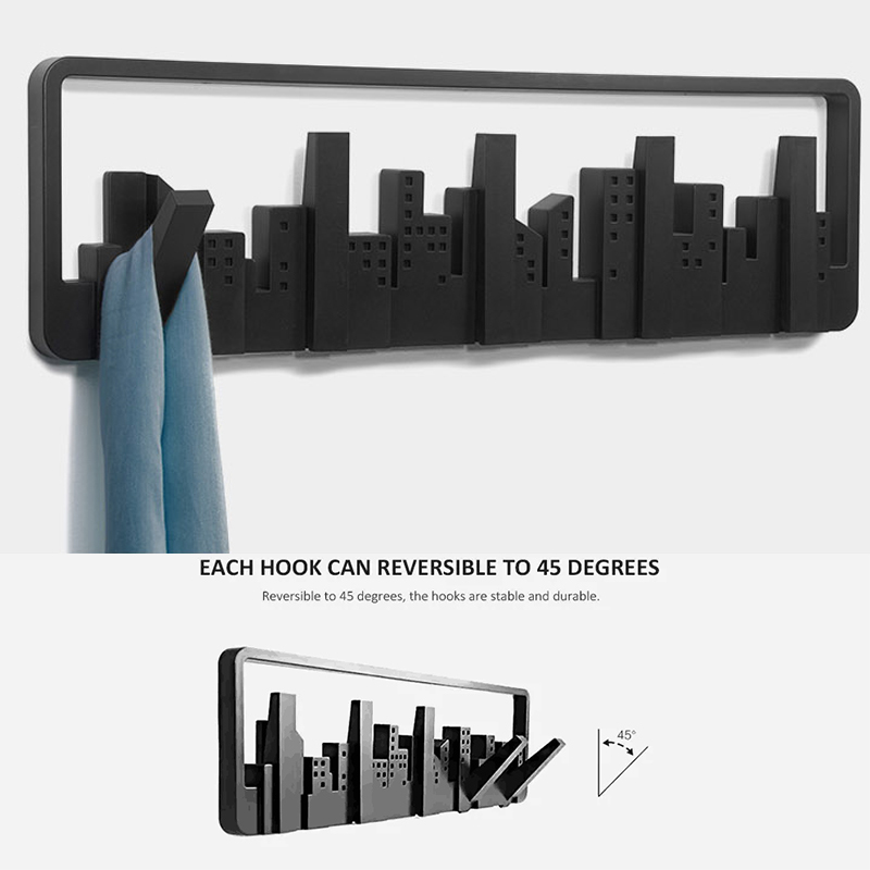 Multi-group Hooks Home Skyline Design Decorative Multi Wall Mounted Hook With 5 Flip-down Hooks Wall Decor For Storage Key Bag
