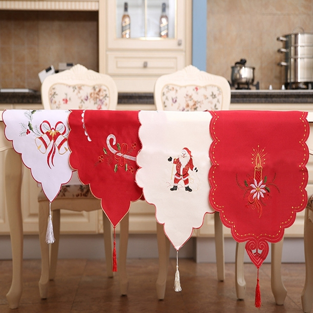 European Style Table Runner Embroidery Flower Elegant Tablecloth