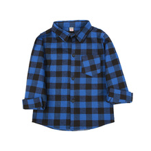 Kids Boys Clothes Brushed Shirts Tops Long Sleeve Spring 2019 Casual Cotton Plaid Blue Shirt Children Boy 2-9 years