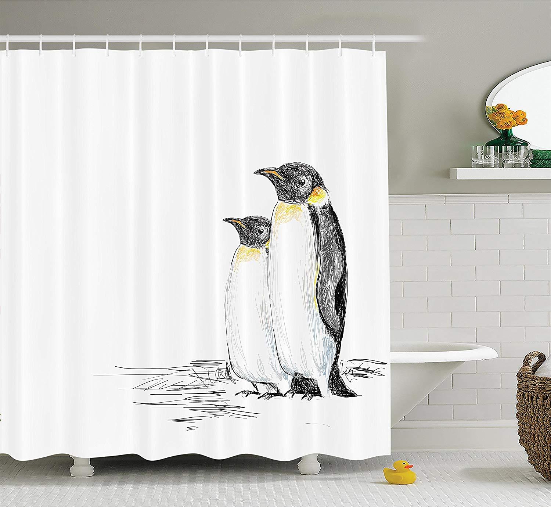 Sea Animals Decor Shower Curtain Art