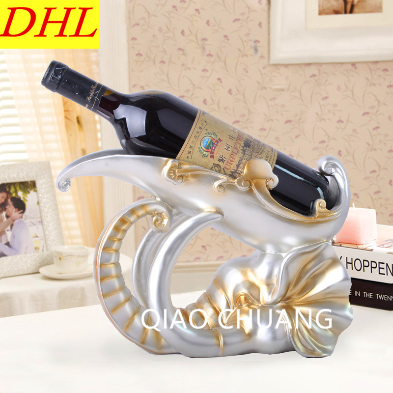 30CM Fashion Resin Crafts European Elephant Wine Rack Creative Home Decorations Exquisite Gifts Ornaments Send RETAIL BOX S439 the new pink wine rack high end modern soft furnishings personalized pink wine resin crafts big quantity best price