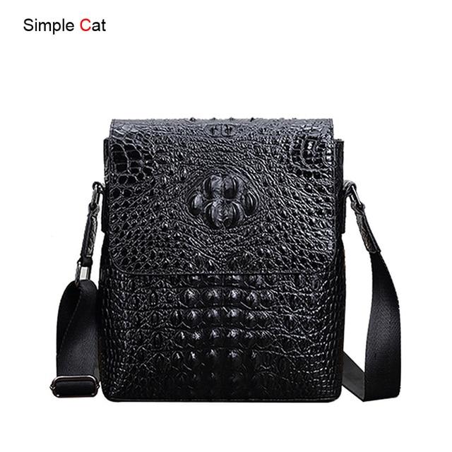 d14487ba54 Men Shoulder Messenger Bag Alligator Crossbody Bags PU Leather Male Vintage  Cover Small Flap Daily Handbag