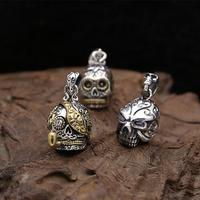 Sterling Silver 925 Punk Skull Pendant For Necklace Men Women With Tiny CZ Stone Pure Antique Thai Silver Mens Accessory