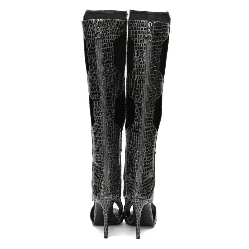 Peep Altas Black Mstacchi La En De Tacón Serpiente Zapatos Toe Cuero Alta Sexy Mujer Boots Mid black Botas Mujeres Python Long Rodilla Las Relieve Boots Nuevo Verano ffRxqw1P