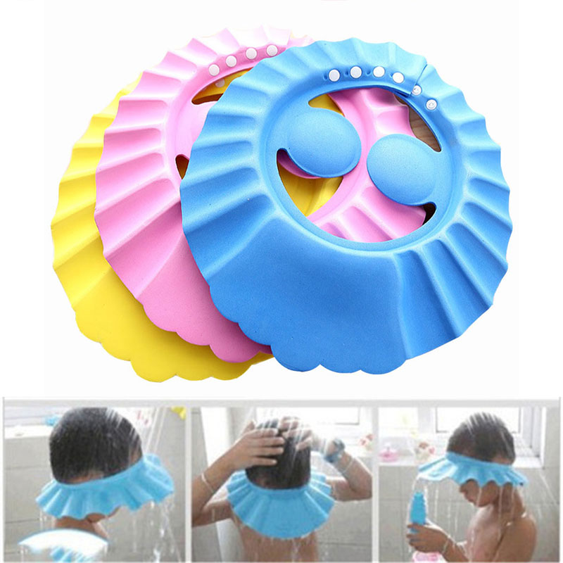 Durable Pure Color Baby Shower Cap Baby Shampoo Waterproof Shower Safe Sun Protection Bath Dustproof Adjust Children'S Bath Cap
