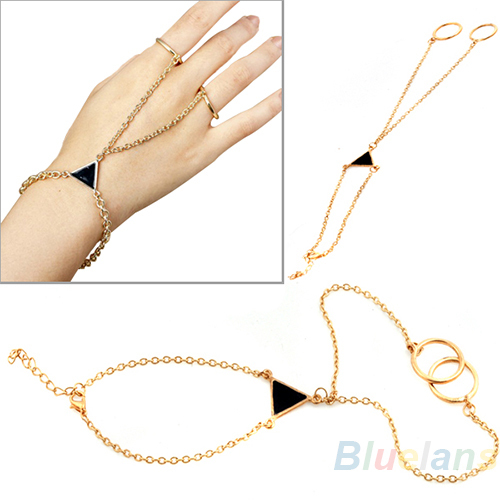 hot selling fashion stylish punk triangle gold alloy chain