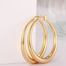 New  Casual Round Hoop Earrings for Women Gold Color Rose Golden Brincos Wedding Wholesale Fashion Jewelry