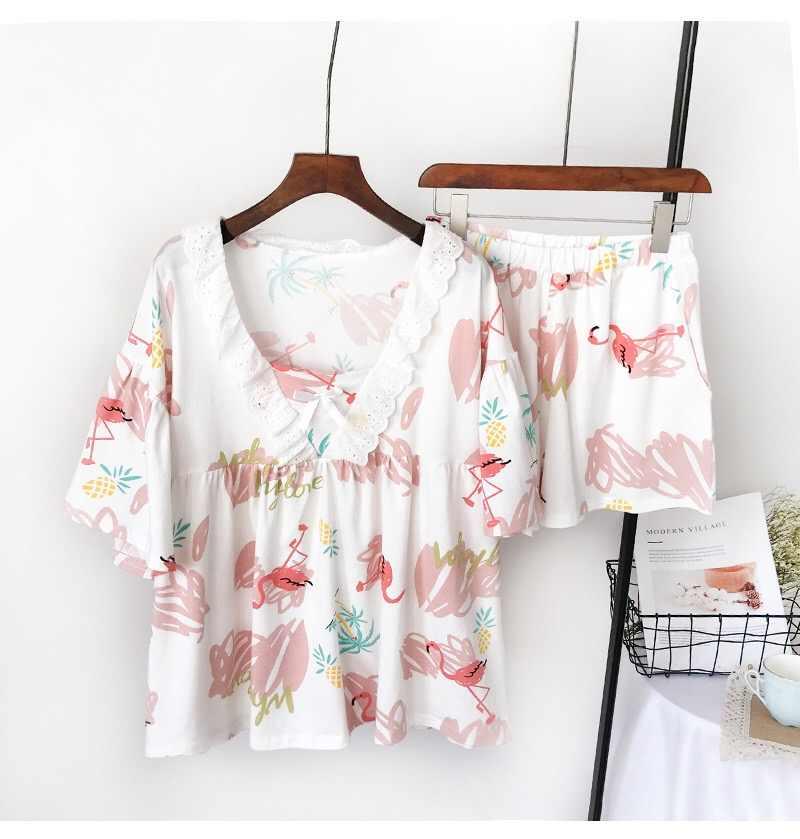 2019 летние хлопковые Для женщин пижамы наборы Фламинго узор с  расклешенными рукавами с v-образным ead7cc917507e