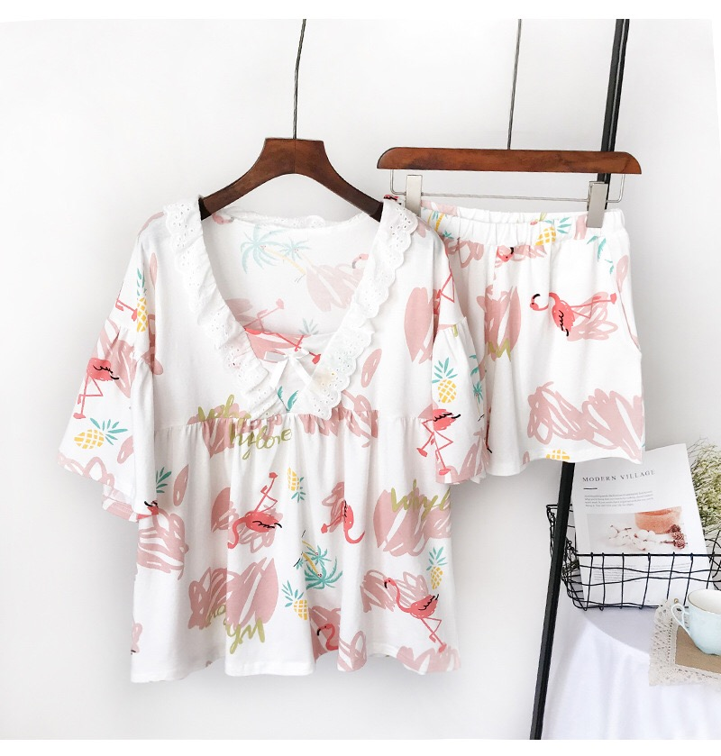 2019 Summer Cotton Women   Pajamas     Sets   Flamingo Pattern Flare Sleeve V Neck Sexy Top + Elastic Waist Shorts Home Wear 2 Pcs Suits