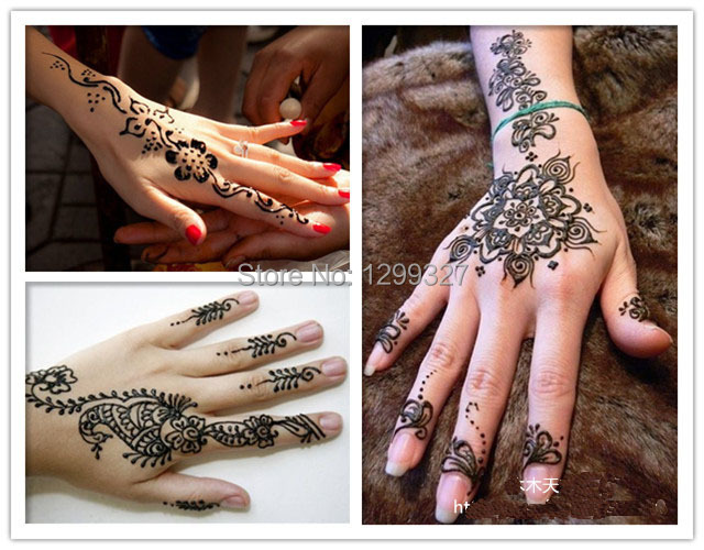 Henna Mehndi Stickers : New easy and quick pink color glitter mehndi design for parties