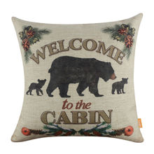 LINKWELL 18×18″ Vintage Welcome to the Cabin Bear Burlap Cushion Cover Throw Pillowcase Man Cave