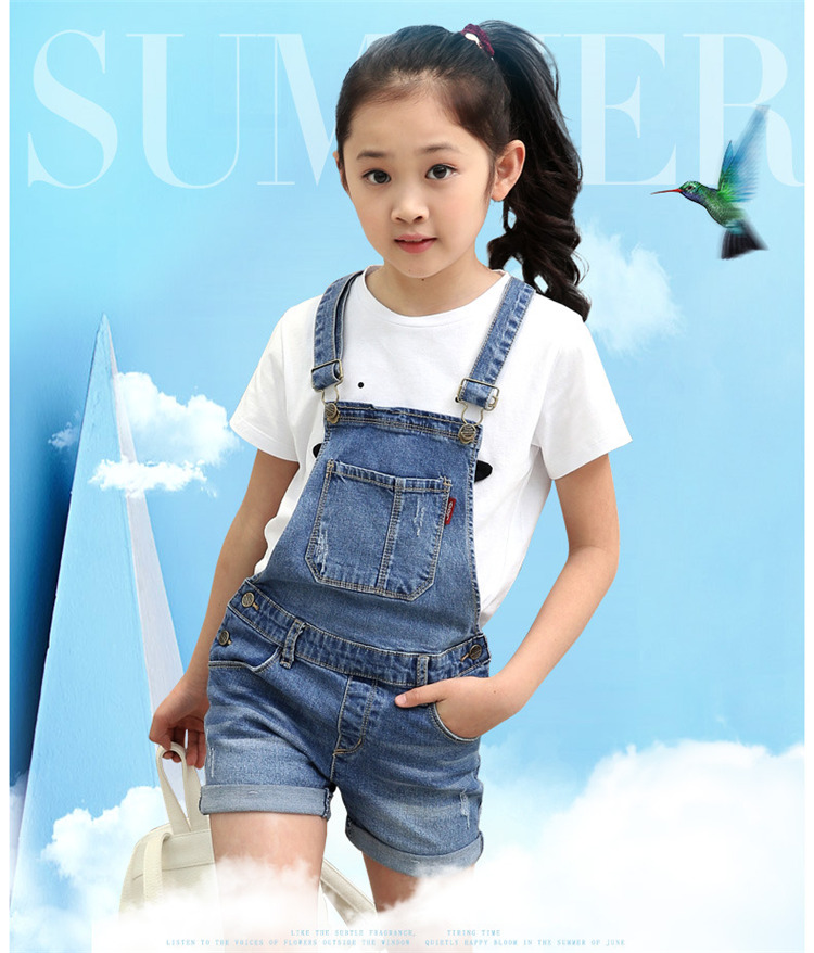 2018 summer children's clothes girls overalls causal blue denim strap girls jeans for big girls kids shorts jeans overalls wangcangli seven point jeans summer new slim was thin jeans for women blue girls stretching skinny jeans elastic large size