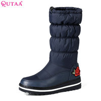 QUTAA 2018 Winter Women Snow Boots Fashion Plush Linging Wedges Heel Round Toe Keep Warming Ladies