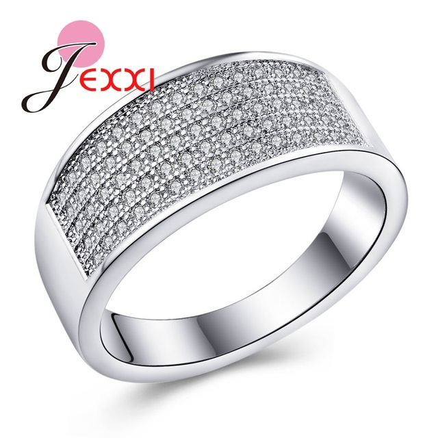 9418fc84ad JEXXI Luxurious Birthday Gift For Beloved 925 Sterling Silver Fashion Couple  Rings For Male Females Full Shiny Cubic Zirconia