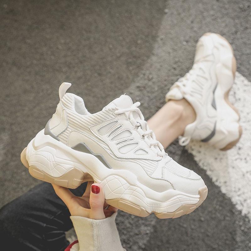 d14f88dc5 Женские кроссовки на платформе; коллекция 2019 года; сезон весна;  повседневные белые массивные кроссовки
