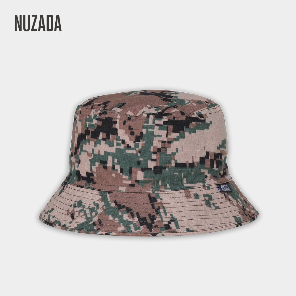 20470049 NUZADA Camouflage Style Men Women Couple Fisherman Bucket Hat Caps Summer  Autumn Spring Double Layer Fabric Cotton Hats