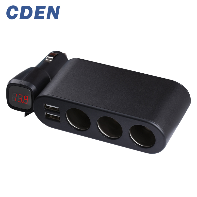 CDEN A drag three car cigarette lighter car charger dual USB car charger plug Multifunction 120W