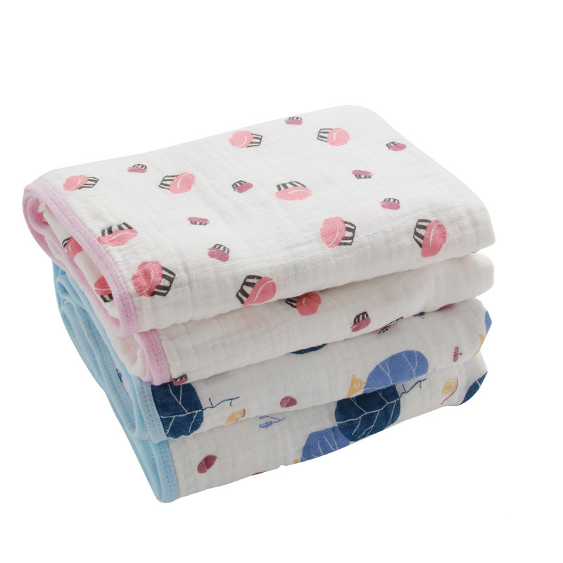 Multifunctional Double Layers Baby Blanket for Spring Autumn Infant Swaddle Bedding Quilt Kids Bath Travel Towel Size 45*45