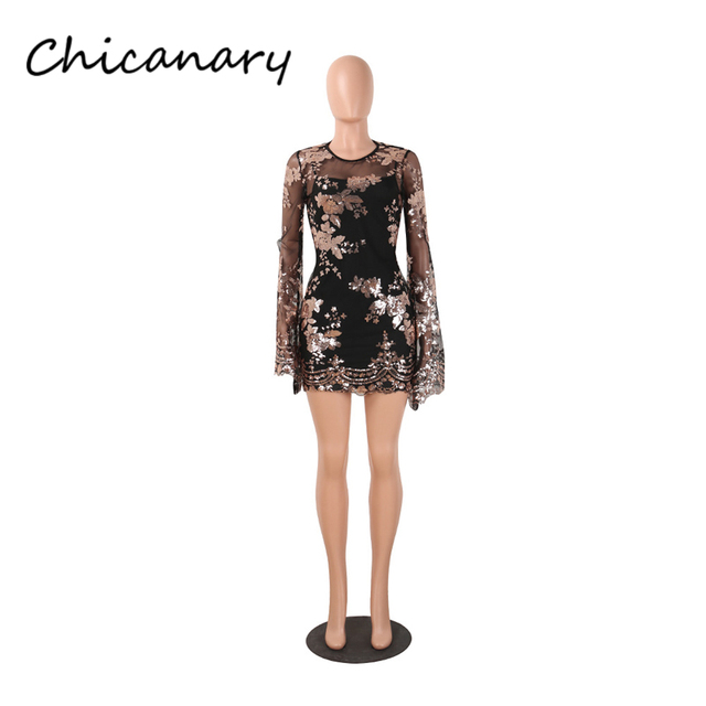 Chicanary Sexy Floral Sequin Mesh Mini Dress with Flare Sleeve Two Pieces  Club Party Wear Women