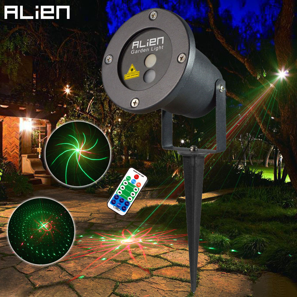 ALIEN 8 Patterns Waterproof Outdoor Landscape Lighting Garden Lawn Christmas Laser Lights Remote Red Green Laser Projector Light oxo good grips 3 in 1 avocado slicer green garden lawn maintenance