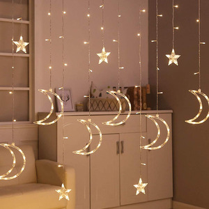 Image 5 - 3.5M 138leds Star Moon Led Curtain String Light 220V Romantic Holiday Christmas Garland Lights For Ramadan Wedding Party Decor