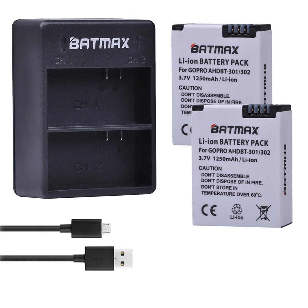2 unids batería + cargador dual del USB para Go Pro hero 3 3 + gopro3 gopro 3 HERO3 Baterías edición negro blanco PLATA edición cámara HD