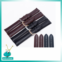 Wholesale 10pcs/lot 20mm Watch Band belts,Black&Brown 2 colors available Genuine Leather Gloden/Silver Buckle Watch strap Band