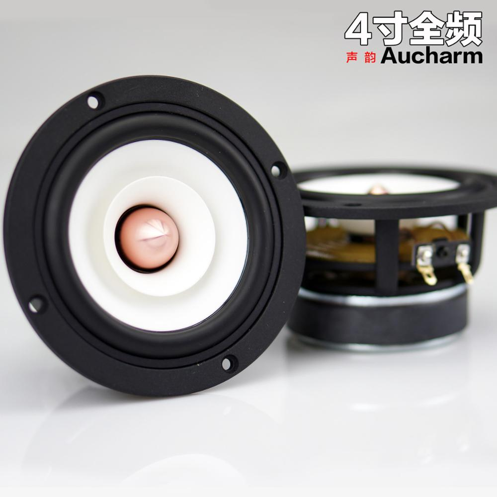 2PCS Aucharm HIFI 4inch Full Frequency Speaker Driver Unit Casting Aluminum Frame White Paper Cone Aluminum Bullet 4ohm 15W iwistao hifi 2 inches full range speaker wooden cabinet 2x10w 84db neodymium speaker unit labyrinth structure for tube amplifier