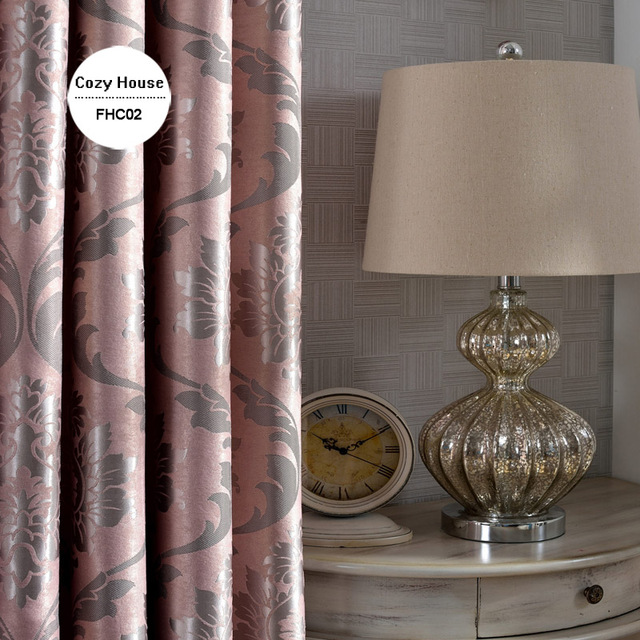 Tessuto Elegante di Lusso Tende Oscuranti Per Soggiorno Rosa Tende Jacquard Tende Damasco Europeo Complementi Arredo per le finestre Pannelli