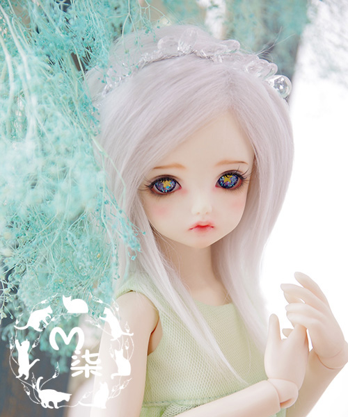 "5/""-6/"" 14cm BJD fabric fur wig smoke grey for AE PukiFee lati 1//8 Doll Antiskid"