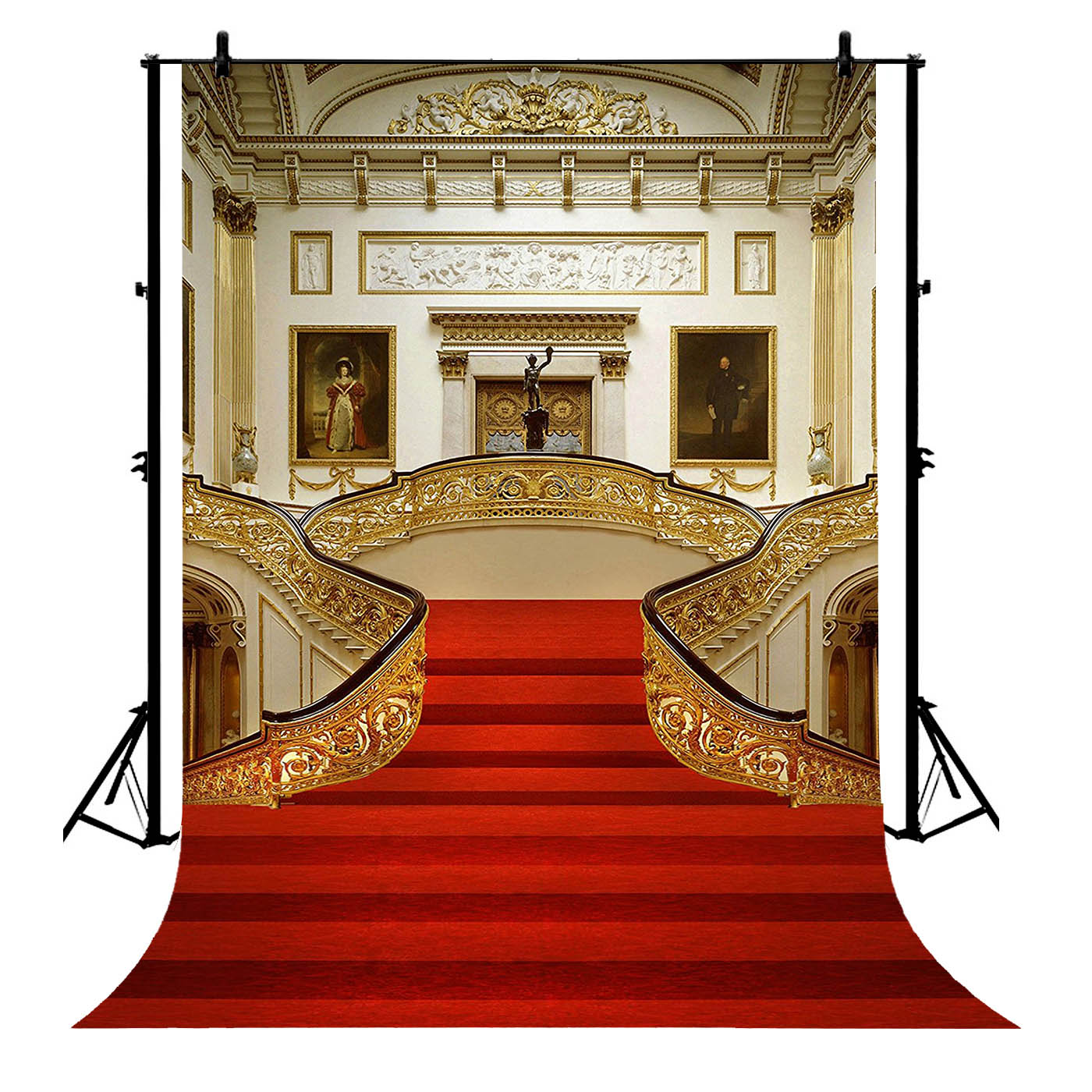 5x7ft Palace Red Carpet Vintage Stair Polyester Photo Background Portrait Backdrop