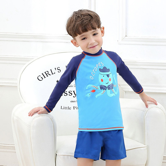9360f6ab22a New Model Boys Two Pieces Swimwear Swimsuit Boy Striped 2-8 Y Children  Swimming Wear Swim Tops & Beach Shorts Suit Bathing Suits