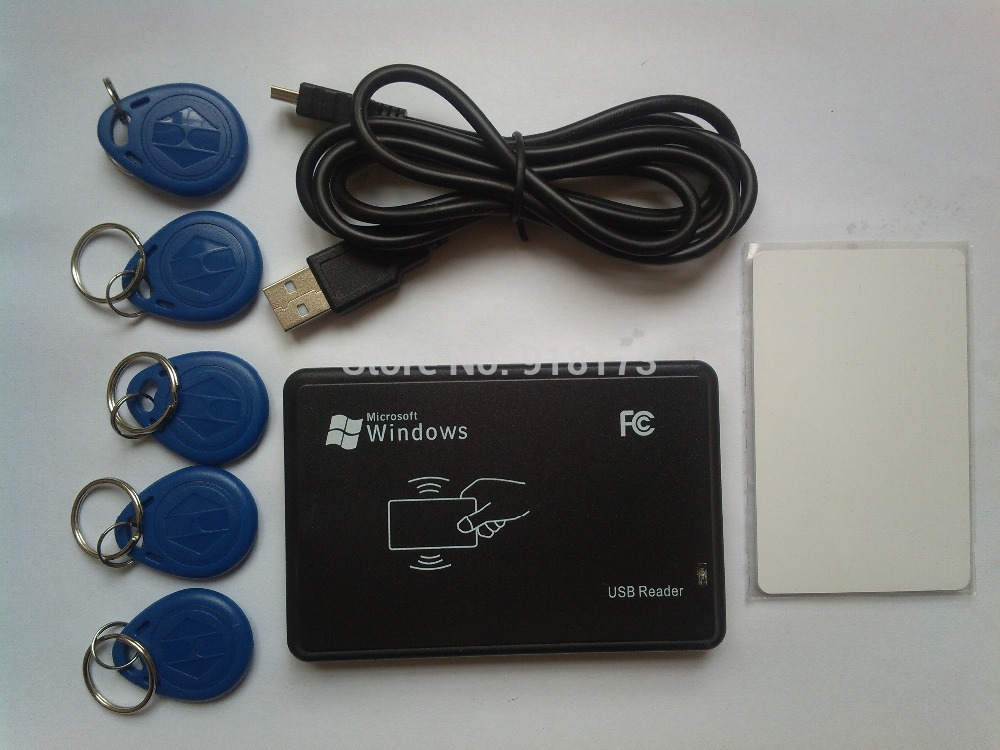 125KHz Black USB Proximity Sensor Smart rfid id Card Reader + 5pcs EM4100 card + 5pcs EM4100 keyfob EM4100,EM4200,EM4305,T5577 dhl ems 5 pcs for key ence proximity sensor switch em 030 em030 d1