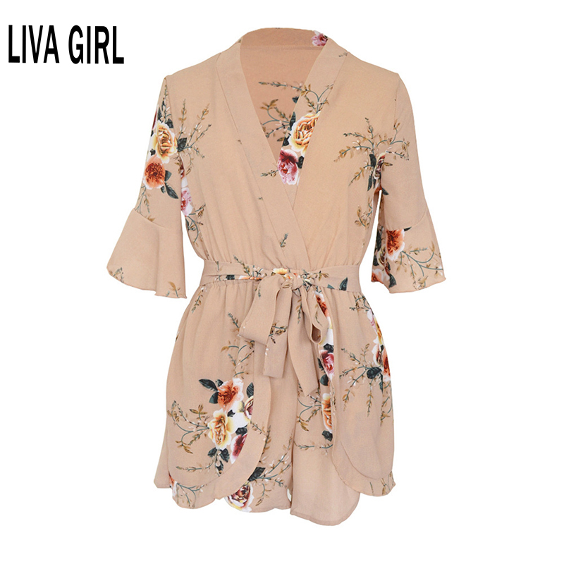 Summer Casual Sexy Lady Backless Elastic Waist Print Mini Romper overall Jumpsuit 2018 Women pleated Overalls Playsuit Jumpsuit