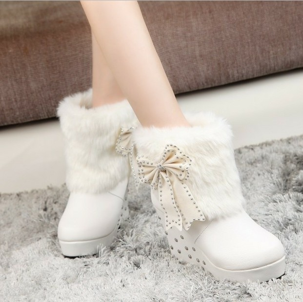 2014 New Fashion Sexy High Heels Boots Warm Sweet Wedges Ankle ...