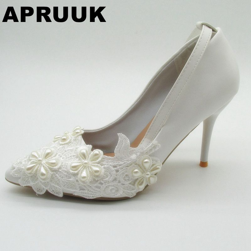 9CM thin high heels wedding shoes women sexy point toes white lace bridal pumps shoes ankle buckle straps lady party shoe white
