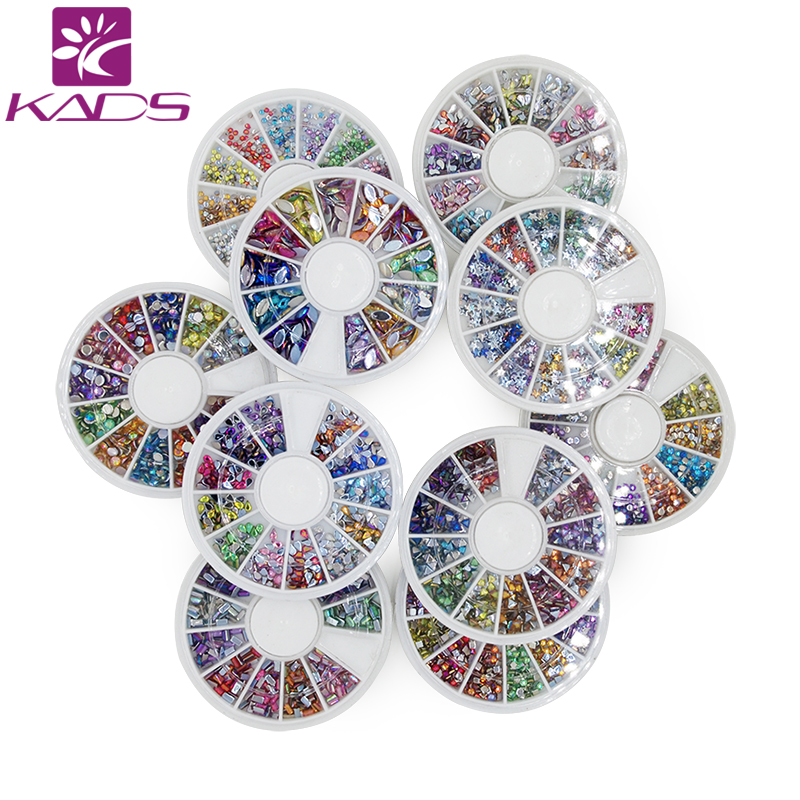 KADS 10 sheet/SET Rainbow Color Acrylic Nail art Rhinestones Nail Art UV Gel Acrylic System Tips Decoration 10 color 20m rolls nail art uv gel tips striping tape line sticker diy decoration 03ik