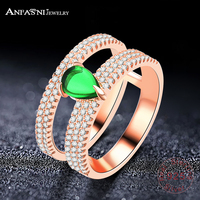 ANFASNI Top Quality Wedding Bands 925 Sterling Silver Ring Wedding Engagement Rings With Green Stone For