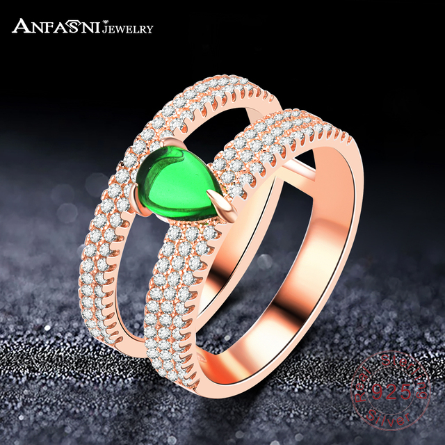 ANFASNI Top Quality Wedding Bands 925 Sterling Silver Ring Wedding Engagement Rings With Green Stone For Women Ring Jewelry